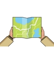 Hands holding paper map Folded map in hands of vector image vector image