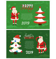 happy holidays greeting card 2019 new year vector image vector image