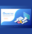 isometric web banner online tax payment on vector image