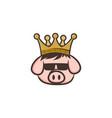 king pig crown pork bacon theme cartoon vector image vector image