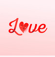 love text with heart shaped balloon on pink vector image