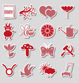 may month theme set of simple red and pink sticker vector image vector image