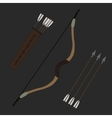 Medieval archer long bow with arrows and quiver vector image vector image