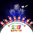 Merry christmas and happy new year 2017 kids vector image vector image