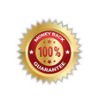 money back with 100 percent guarantee sticker vector image vector image