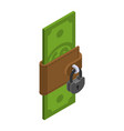 money is protected wallet with cash and padlock vector image vector image
