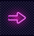 neon arrow luminous indicator neon tube showing vector image