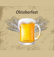 oktoberfest poster craft beer with foam glass mug vector image vector image
