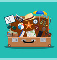 open baggage luggage vector image
