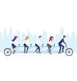 people in masks on multi seats bicycle character vector image vector image