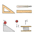 ruler and thermometer circuit and graph engraved vector image vector image