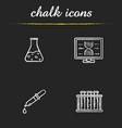 science laboratory chalk icons set vector image