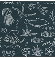 Sealife hand drawn seamless pattern vector image vector image