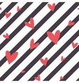 Seamless striped pattern with hearts vector image vector image