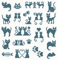 Set retro pixel cat vector image