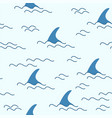 shark fin dolphin whale ocean wave seamless vector image vector image