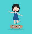 small girl with skateboard vector image vector image