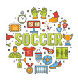 soccer banner with line icon vector image