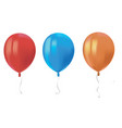 three realistic air flying balloons with reflects vector image vector image