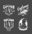 vintage monochrome gentleman club labels vector image