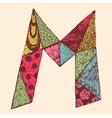 Vintage monogram M Doodle colorful alphabet vector image