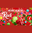 vitamin from red fruits color diet heart health vector image vector image