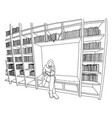 woman reading book in library with copyspace vector image vector image