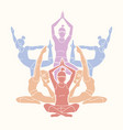 yoga class group of women practice yoga vector image vector image