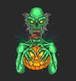 zombies carrying pumpkins grap vector image vector image