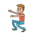 boy doing workout fitness vector image