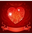 Greeting card with heart and ribbon for wedding vector image