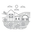 agriculture farm in fields thin line concept logo vector image