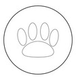 animal footprint the black color icon in circle vector image vector image