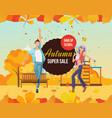 autumn super sale background vector image vector image
