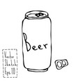 beer can and key doodle sketch bar vector image vector image