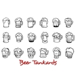 Beer tankards set vector image