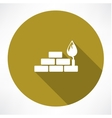 bricks and trowel icon vector image vector image