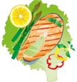 bright juicy grilled fish on a lettuce leaf vector image vector image