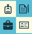 business icons set collection of id badge vector image vector image