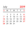 calendar july 2019 year in simple style calendar vector image vector image