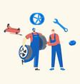 car maintenance or fixing mechanics characters vector image vector image