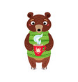 christmas bear icon santa vector image