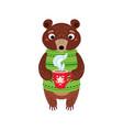 christmas bear icon santa vector image vector image