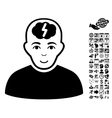 Clever Boy Flat Icon With Bonus vector image vector image