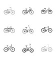 collection of bikes with different wheels and vector image