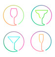 continuous line art logo set of different glasses vector image