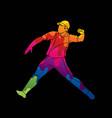 cricket player action cartoon sport graphic vector image vector image