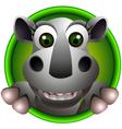 cute rhino head cartoon vector image vector image