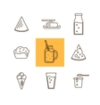 Dairy icon set in line style design Milk Cheese vector image vector image