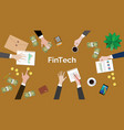 fintech financial technology concept discussion vector image vector image